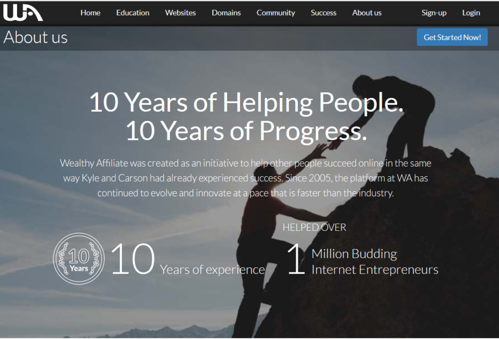 Wealthy Affiliate - 10 Years of Helping People