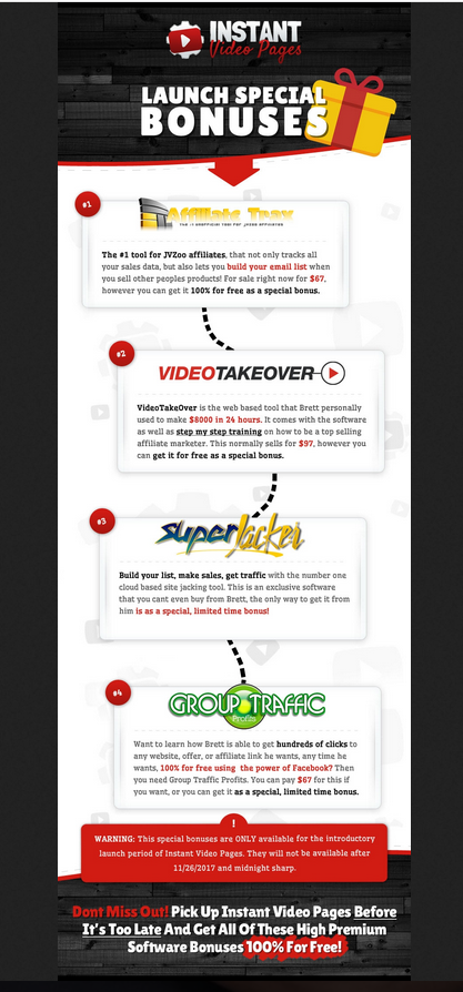 Launch Special Bonuses for Instant Video Pages